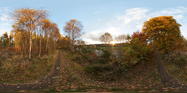 Autumn trees by the River Beauly, Kilmorack 360° Panorama