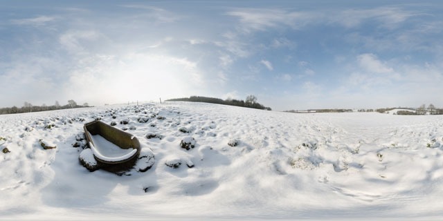 Bathtub in snowy field near East Farndon 360° Panorama