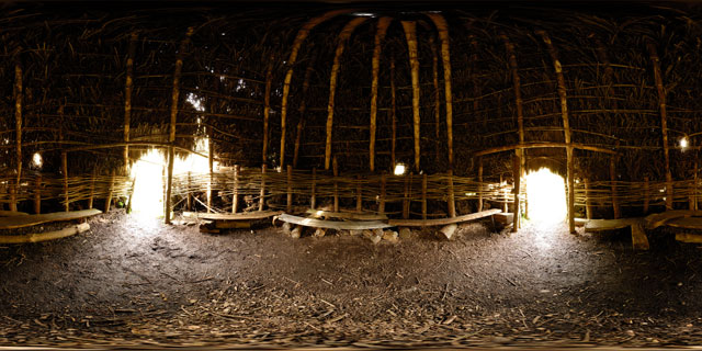 Bronze Age hut replica in the Abriachan Forest 360° Panorama