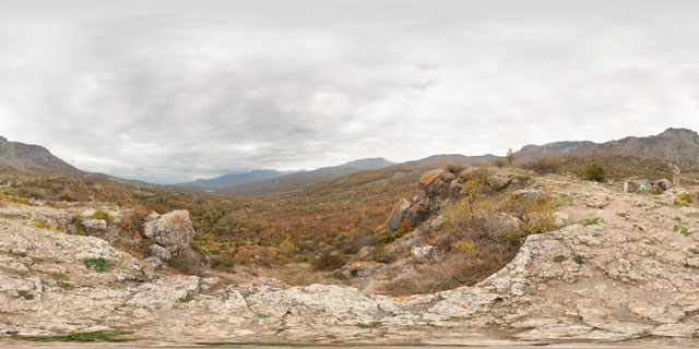 Demerdzhi mountain and Funa Fort in Autumn 360° Panorama