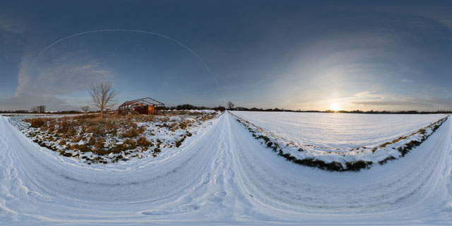 East Farndon to Lubenham Road in the snow 360° Panorama
