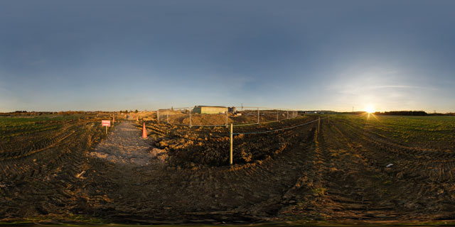 Farndon Fields development at sunset 360° Panorama