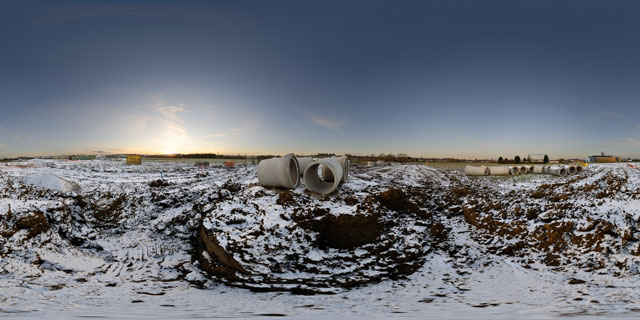 Farndon Fields Development in the Snow 1 360° Panorama