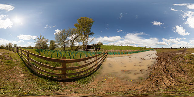 Farndon Fields NW corner after heavy rain 360° Panorama