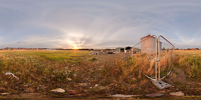 Farndon Fields Silos at Sunset 360° Panorama