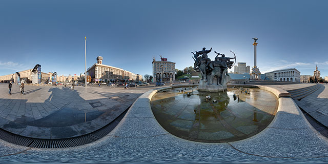Founders Monument fountain on Independence Square, Kiev 360° Panorama