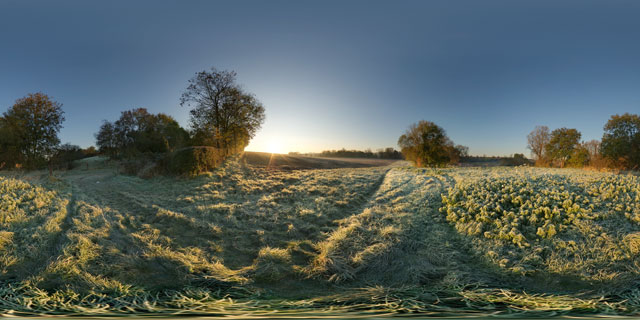 Frosty field at Sunrise, Market Harborough 360° Panorama