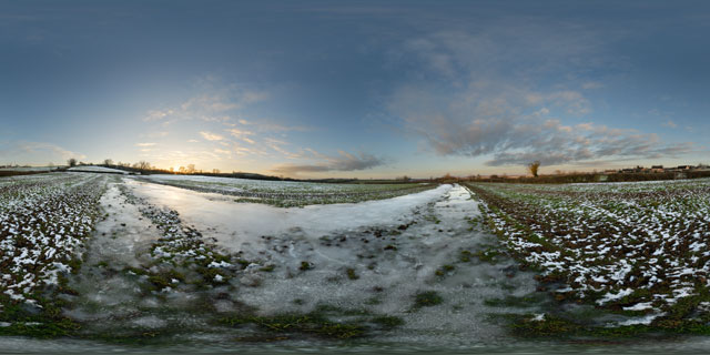 Frozen puddle in field near East Farndon 360° Panorama