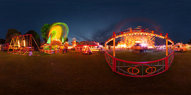 Funfair in Welland Park at night 360° Panorama