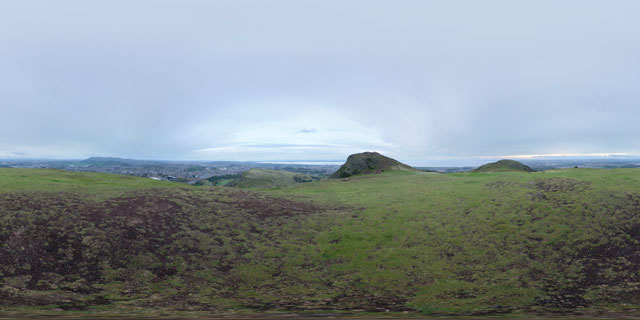 Gloomy morning in Holyrood Park 360° Panorama
