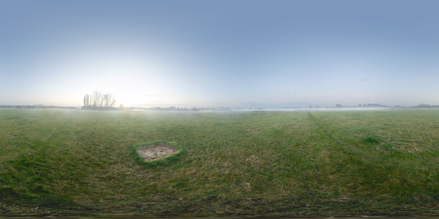 Grassy field and autumn mist 360° Panorama