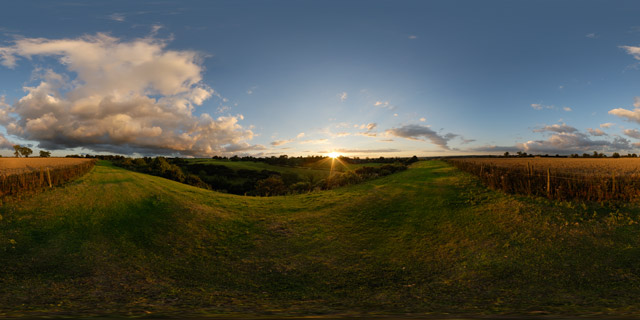 Hill near East Farndon at Sunset 2 360° Panorama