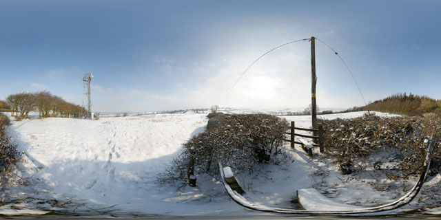 Hill NW of East Farndon in the snow 360° Panorama