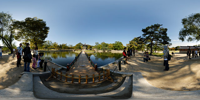 Hyangwonjeong Pavilion, Hyangwonji Lake, Chwihyanggyo Bridge 360° Panorama