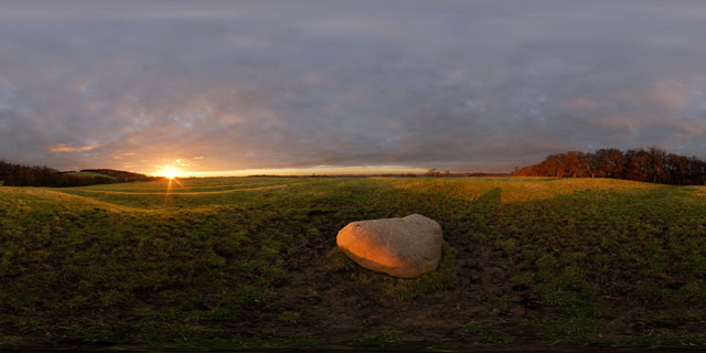 Judith Stone at sunset, East Farndon 360° Panorama
