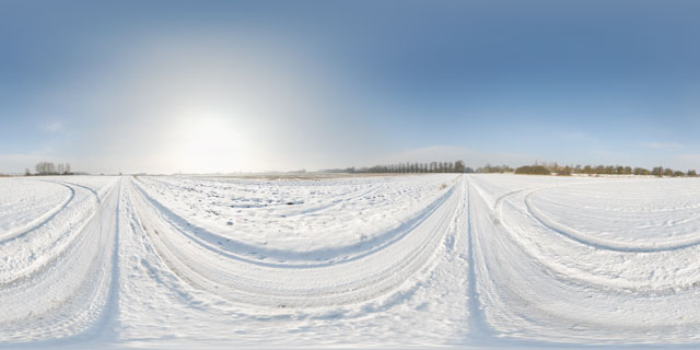Lubenham to East Farndon Road in the snow 360° Panorama