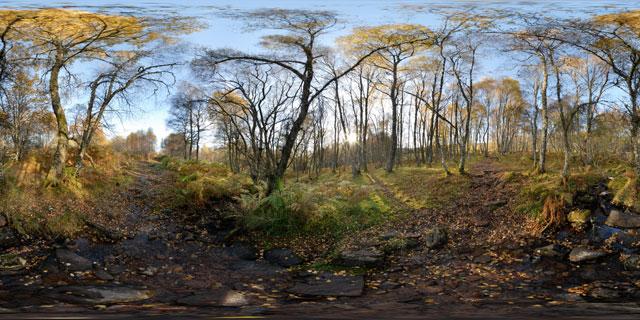 Meall Fuar-mhonaidh – woodland stream 360° Panorama