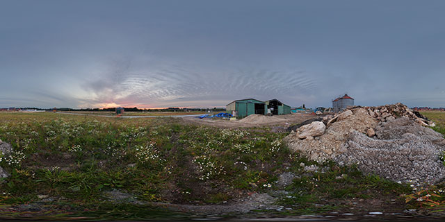 Pile of rubble at Farndon Fields 360° Panorama