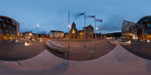 Scottish Parliament building at night, Edinburgh 360° Panorama