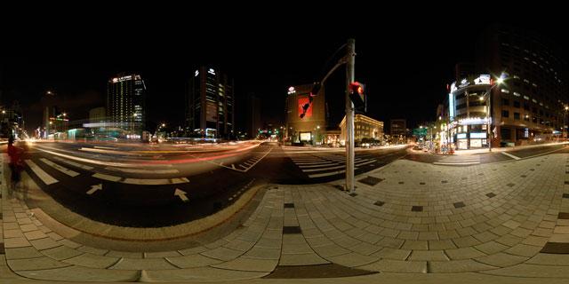 Seoul at night – Banpo-ro and Toegyero intersection 360° Panorama
