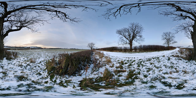 Snowy field near East Farndon at twilight 360° Panorama