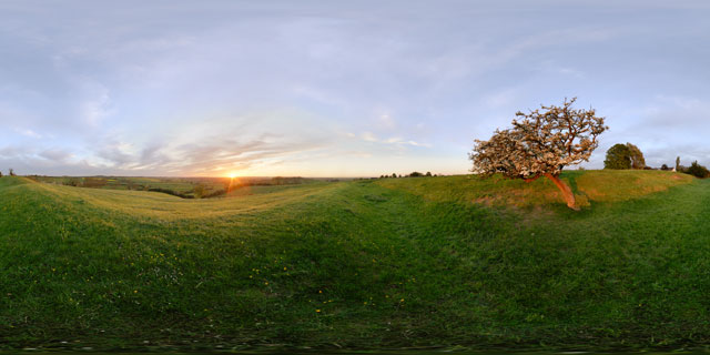Spring sunset from East Farndon hill 360° Panorama
