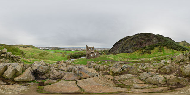 St. Anthony's Chapel Ruins and Holyrood Park 360° Panorama