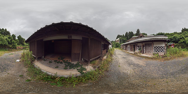 Workshop buildings at abandoned Fukuoka History Town 360° Panorama